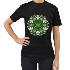 Green Flower In Kaleidoscope Women s T-shirt (black) by Simbadda