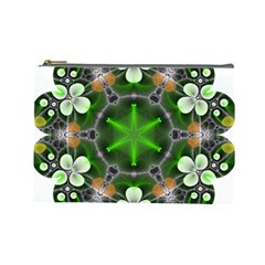 Green Flower In Kaleidoscope Cosmetic Bag (large)  by Simbadda
