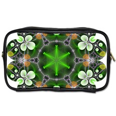 Green Flower In Kaleidoscope Toiletries Bags 2 Side by Simbadda
