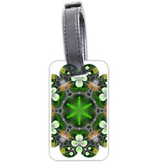 Green Flower In Kaleidoscope Luggage Tags (one Side)  by Simbadda