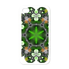 Green Flower In Kaleidoscope Apple Iphone 4 Case (white) by Simbadda
