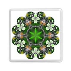 Green Flower In Kaleidoscope Memory Card Reader (square)