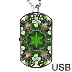 Green Flower In Kaleidoscope Dog Tag Usb Flash (two Sides) by Simbadda