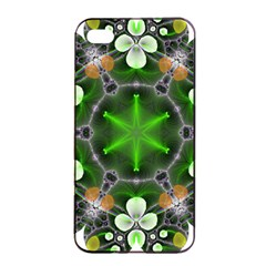Green Flower In Kaleidoscope Apple Iphone 4/4s Seamless Case (black) by Simbadda