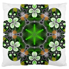 Green Flower In Kaleidoscope Large Cushion Case (two Sides)
