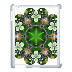 Green Flower In Kaleidoscope Apple Ipad 3/4 Case (white) by Simbadda