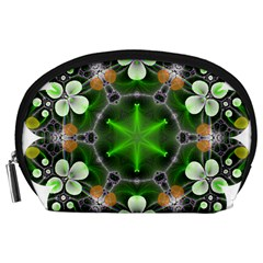 Green Flower In Kaleidoscope Accessory Pouches (large)  by Simbadda