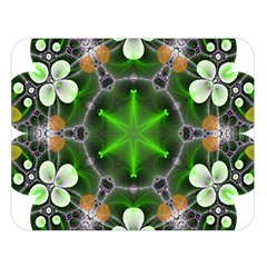 Green Flower In Kaleidoscope Double Sided Flano Blanket (large)  by Simbadda
