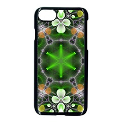 Green Flower In Kaleidoscope Apple Iphone 7 Seamless Case (black) by Simbadda