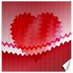 Red Fractal Wavy Heart Canvas 16  X 16