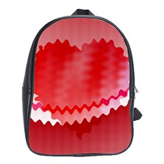Red Fractal Wavy Heart School Bags(large)  by Simbadda