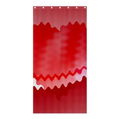 Red Fractal Wavy Heart Shower Curtain 36  X 72  (stall)
