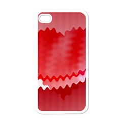 Red Fractal Wavy Heart Apple Iphone 4 Case (white) by Simbadda