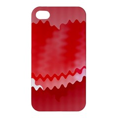 Red Fractal Wavy Heart Apple Iphone 4/4s Hardshell Case by Simbadda