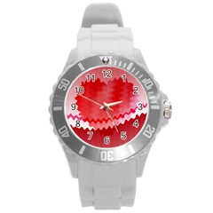 Red Fractal Wavy Heart Round Plastic Sport Watch (l)