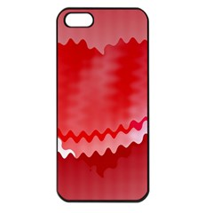 Red Fractal Wavy Heart Apple Iphone 5 Seamless Case (black) by Simbadda