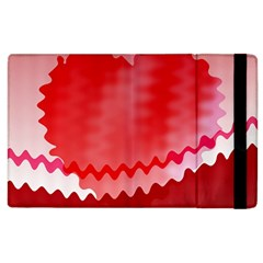 Red Fractal Wavy Heart Apple Ipad 2 Flip Case by Simbadda