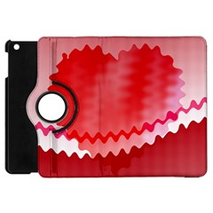 Red Fractal Wavy Heart Apple Ipad Mini Flip 360 Case by Simbadda