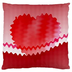 Red Fractal Wavy Heart Large Flano Cushion Case (one Side) by Simbadda
