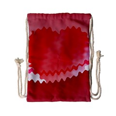 Red Fractal Wavy Heart Drawstring Bag (small) by Simbadda