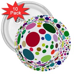 Color Ball 3  Buttons (10 pack)