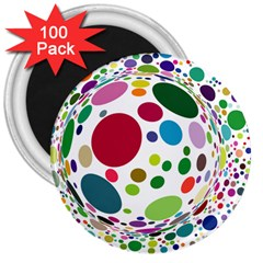 Color Ball 3  Magnets (100 pack)