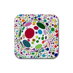 Color Ball Rubber Square Coaster (4 pack)