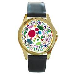 Color Ball Round Gold Metal Watch