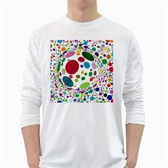 Color Ball White Long Sleeve T-Shirts