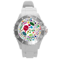 Color Ball Round Plastic Sport Watch (L)