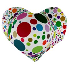 Color Ball Large 19  Premium Heart Shape Cushions
