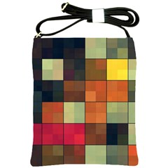Background With Color Layered Tiling Shoulder Sling Bags by Simbadda