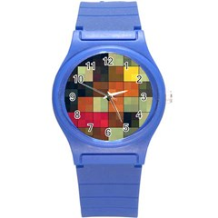 Background With Color Layered Tiling Round Plastic Sport Watch (s) by Simbadda