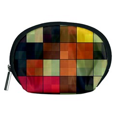 Background With Color Layered Tiling Accessory Pouches (medium)
