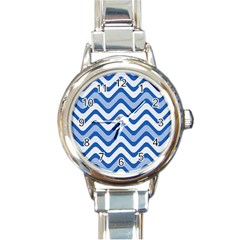 Background Of Blue Wavy Lines Round Italian Charm Watch by Simbadda