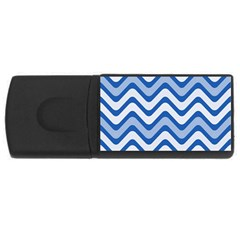 Background Of Blue Wavy Lines Usb Flash Drive Rectangular (4 Gb) by Simbadda