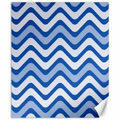 Background Of Blue Wavy Lines Canvas 8  X 10  by Simbadda