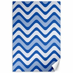 Background Of Blue Wavy Lines Canvas 12  X 18