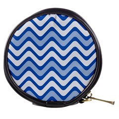 Background Of Blue Wavy Lines Mini Makeup Bags