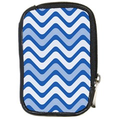 Background Of Blue Wavy Lines Compact Camera Cases by Simbadda