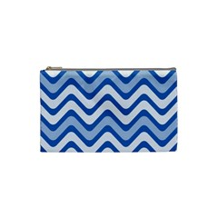Background Of Blue Wavy Lines Cosmetic Bag (small)  by Simbadda