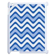 Background Of Blue Wavy Lines Apple Ipad 2 Case (white) by Simbadda