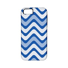 Background Of Blue Wavy Lines Apple Iphone 5 Classic Hardshell Case (pc+silicone)