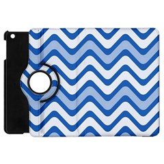 Background Of Blue Wavy Lines Apple Ipad Mini Flip 360 Case by Simbadda