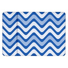Background Of Blue Wavy Lines Samsung Galaxy Tab 8 9  P7300 Flip Case by Simbadda