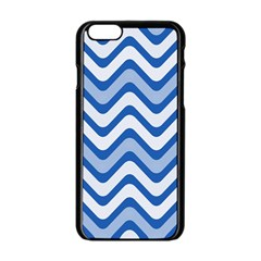Background Of Blue Wavy Lines Apple Iphone 6/6s Black Enamel Case