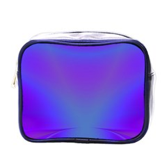 Violet Fractal Background Mini Toiletries Bags by Simbadda