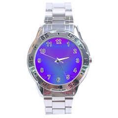Violet Fractal Background Stainless Steel Analogue Watch