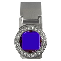 Blue Fractal Square Button Money Clips (cz)  by Simbadda