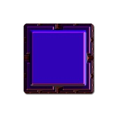 Blue Fractal Square Button Square Magnet by Simbadda